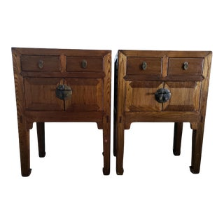 19th Century Chinese Antique Huanghuali Wood Side Tables - a Pair For Sale