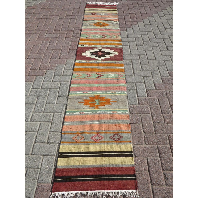"Islamic Vintage Turkish Kilim Runner-2'x10'4"" For Sale - Image 3 of 13"