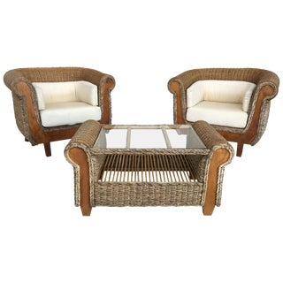 Midcentury Set of Big Armchairs With Matching Coffee Table, Rattan and Wood For Sale