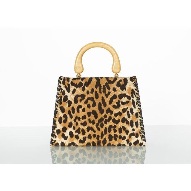 1990s Yves Saint Laurent Leopard Animal Print Canvas Wooden Top Handle Bag, 1990s For Sale - Image 5 of 10