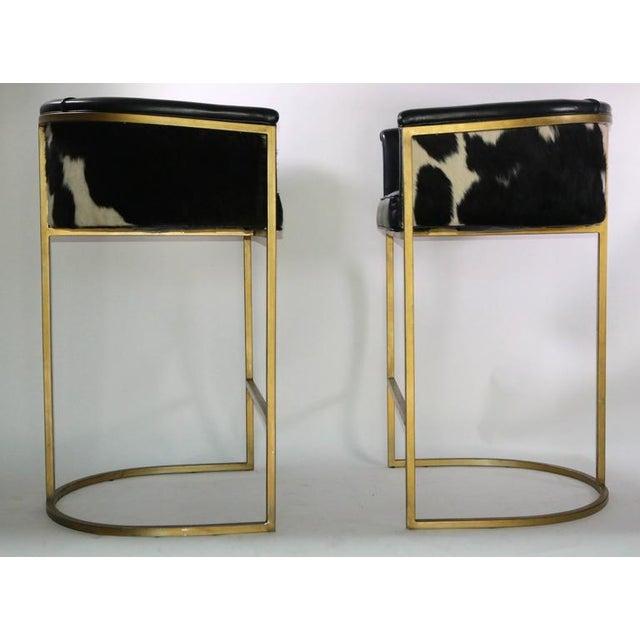Bauhaus Modern Brass & Leather Stools - a Pair - Image 8 of 9