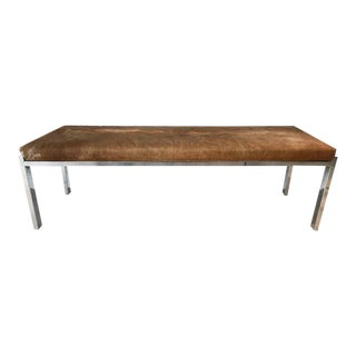 Milo Baughman Long Chrome Bench For Sale