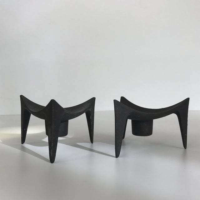 Norway Modernist Cast Iron Candle Holders - A Pair - Image 3 of 5