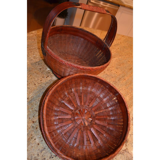 Wicker Vintage Chinese Sewing Basket For Sale - Image 7 of 8