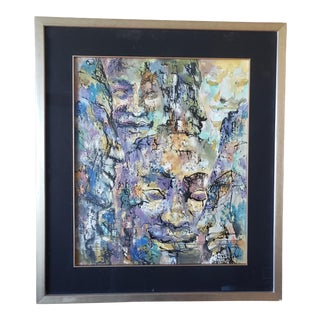 Abstract Painting by Andre Delfau - Framed and Signed For Sale
