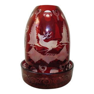 Early 20th Century Bohemian Ruby Red Glass Egermann Fairy Lamp For Sale