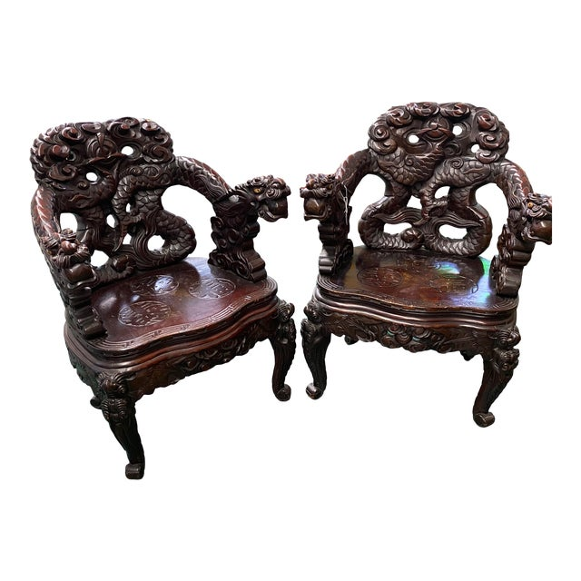 Vintage Carved Rosewood Oriental Dragon Chairs - a Pair For Sale