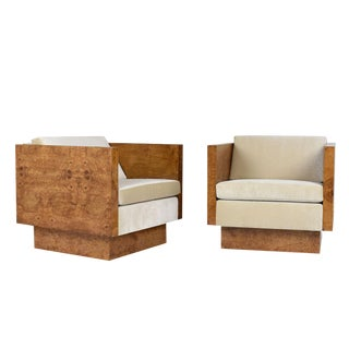 Pair of Milo Baughman for Thayer Coggin Cube Lounge Chairs For Sale