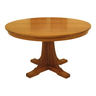 1990s Arts and Crafts Stickley Round Oak Dining Table For Sale