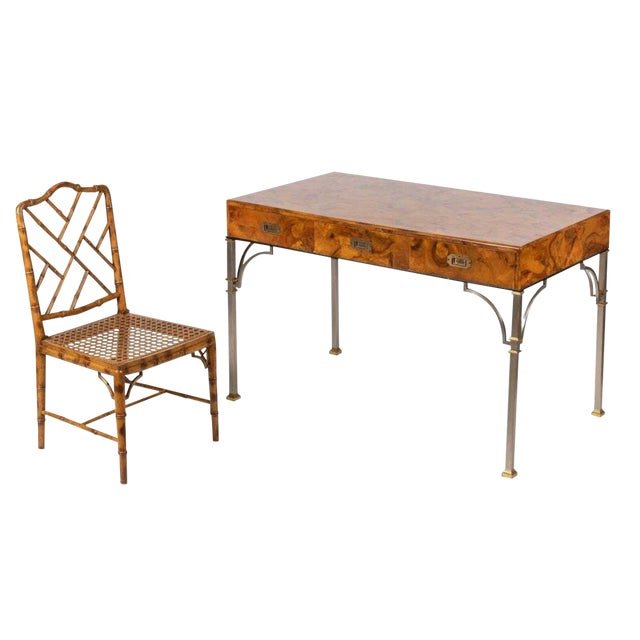 Campaign Style Italian Burlwood Desk and Chair For Sale