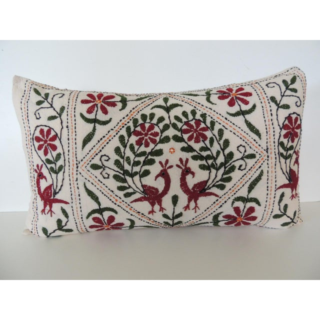1980s Vintage Indian Colorful Floral Embroidered Decorative Bolster Pillow For Sale - Image 5 of 5