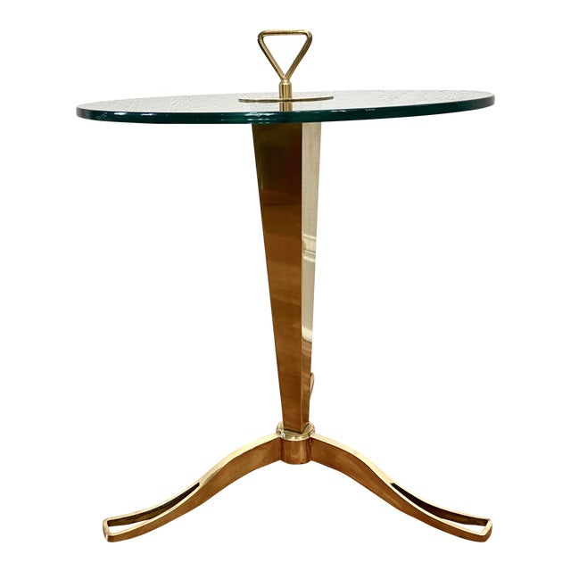 Vintage 1950s Italian Brass Faceted Drinks Table For Sale