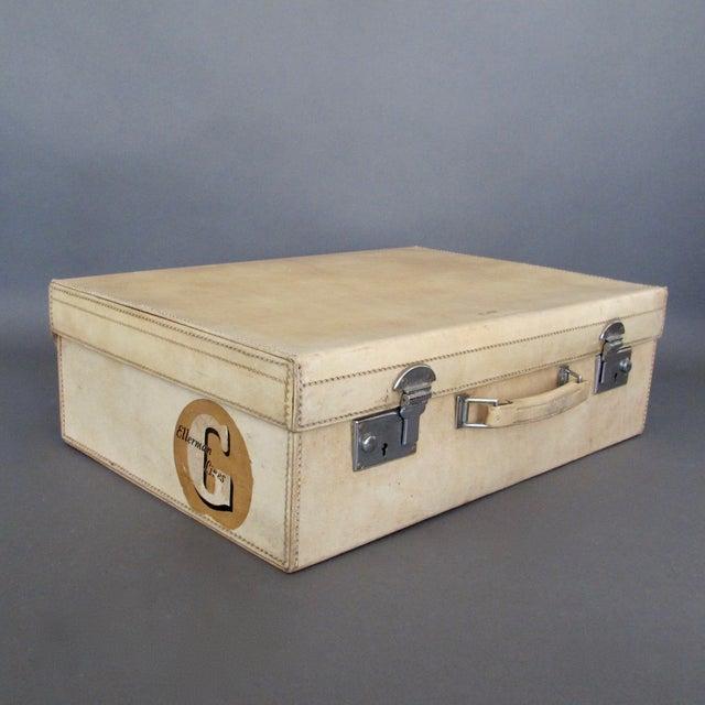Tan Antique 1920 Cream Vellum Suitcase For Sale - Image 8 of 11