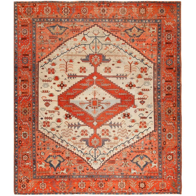 Antique Serapi Persian Ivory Rug - 11′ × 12′6″ For Sale - Image 10 of 10