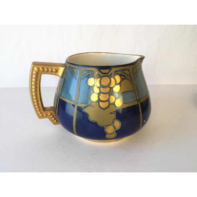 Early 20th Century 20th Century French Jean Pouyat Limoges Hand-Painted Pitcher and Tray - 2 Pieces For Sale - Image 5 of 12