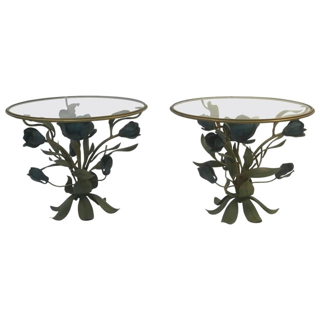 BEAUTIFUL PAIR OF MIXED- METAL SIDE OR ACCENT TABLES WITH FLOWER AND LEAF DESIGN For Sale