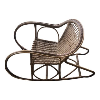 Antique Italian Bamboo/Wicker Child Rocking Chair For Sale