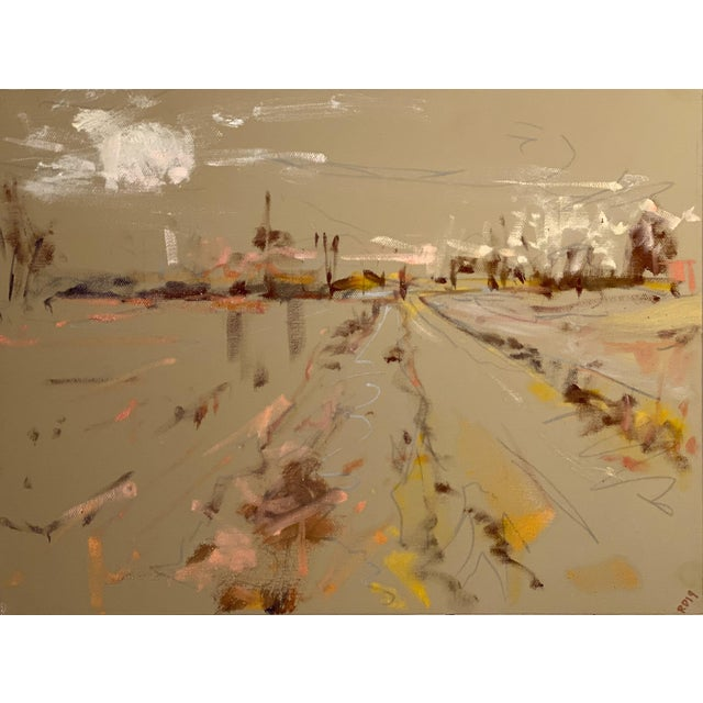 Abstract Expressionist Original Oil Painting by Rebecca Dvorak – Upper Shirley Fields, 1 of 3 For Sale