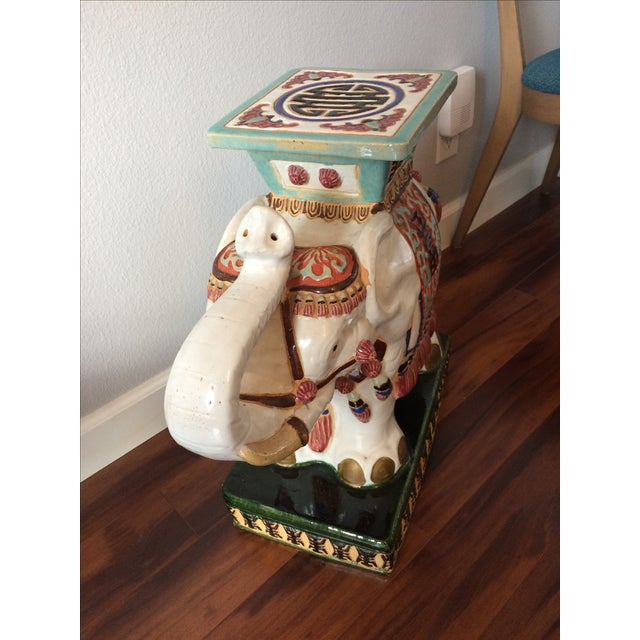 Vintage Asian Elephant Garden Stool or Side Table - Image 7 of 8