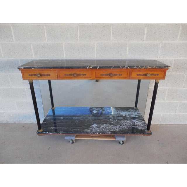 """This French Regency console table features high-quality construction. Stunning neoclassical elements. Beautiful 3/4"""" thick..."""