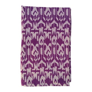 Vintage Purple Ikat Kantha Throw For Sale