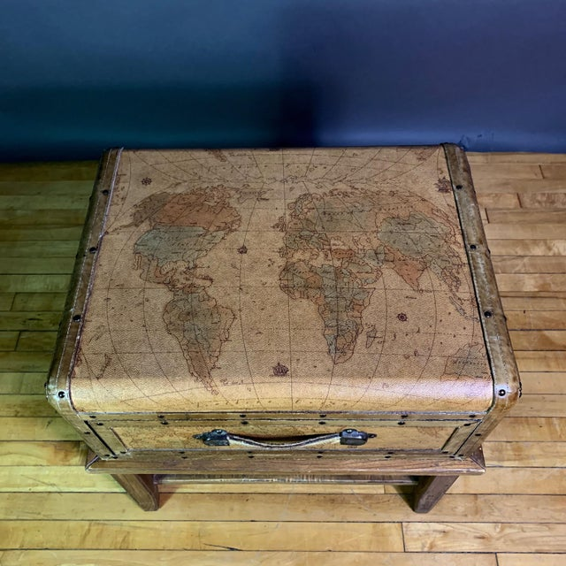 Leather Travel Suitcase Storage Box on Frame, 20th Century For Sale - Image 10 of 12