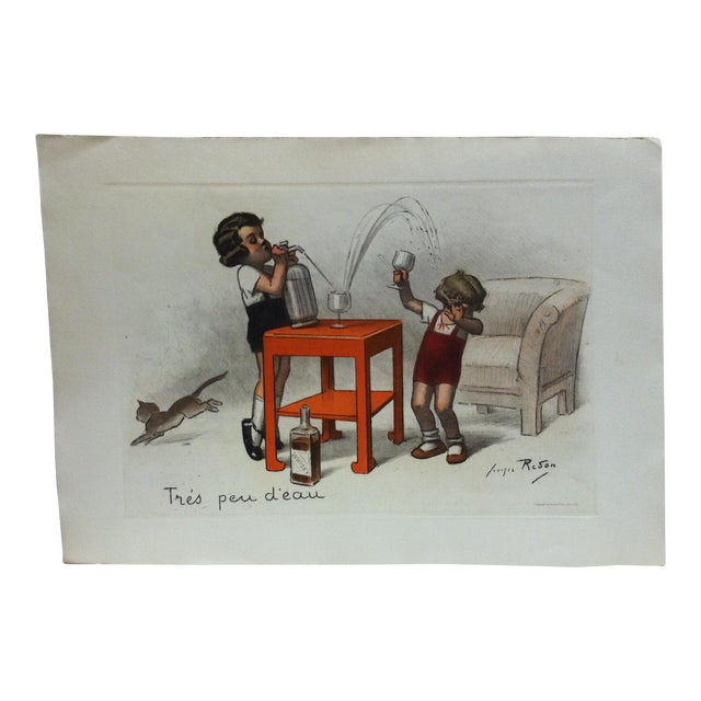 """1939 Vintage """"Tres Peu D' Eau"""" French Hand-Colored Print by Reson For Sale"""