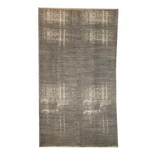 'Dhurrie' Grey Cotton Distressed Rug - 6′6″ × 10′ For Sale