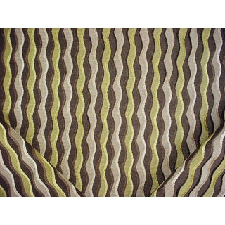 Traditional Kravet Couture Trailway Kiwi Wave Stripe Velvet Upholstery Fabric - 2-1/2y For Sale