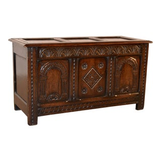 19th C English Oak Blanket Chest For Sale