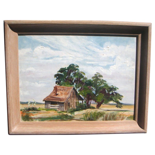 Arleen Huseby Mid-Century Texas Shack Painting For Sale