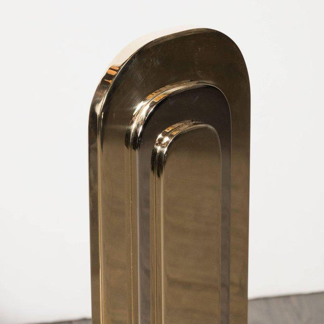 Brass Modernist Andirons in Polished Brass and Nickel For Sale - Image 7 of 10