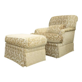 French Country Gold & White Velvet Arm Chair & Ottoman For Sale