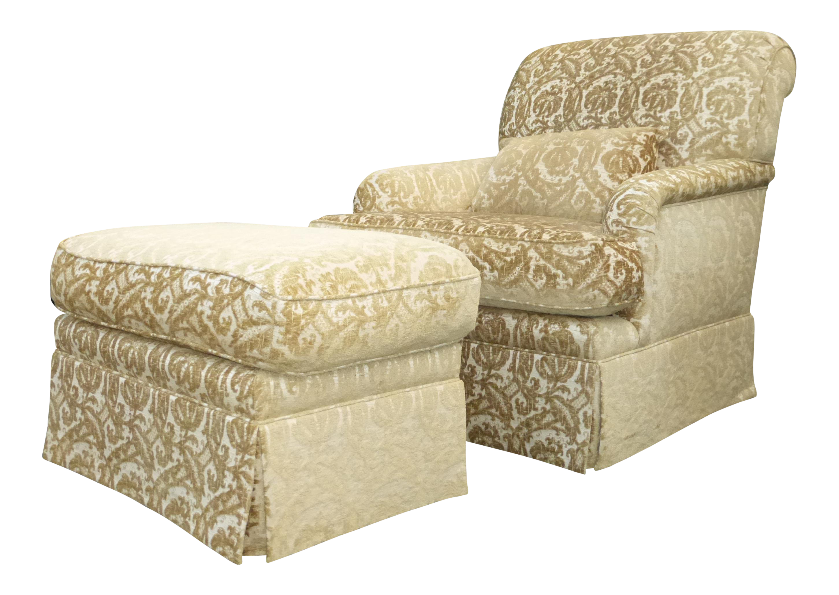 French Country Gold U0026 White Velvet Arm Chair U0026 Ottoman   Image ...