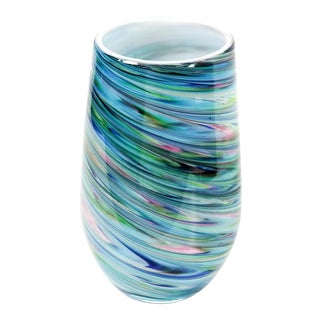 Cased Swirl Art Glass Vase by Tozai Home For Sale