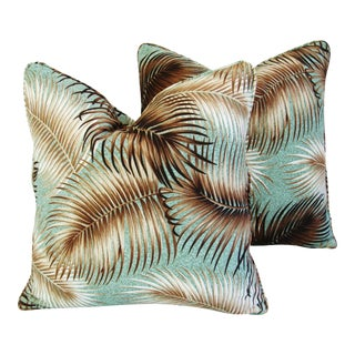 "Mid-Century Hollywood Glam Swaying Palm Leaves Feather/Down Pillows 20"" Square - Pair For Sale"