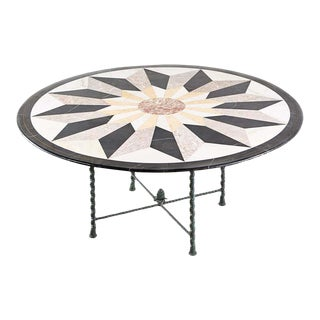 Italian Pietra Dura Marble Inlay Bronze Garden Dining Table For Sale
