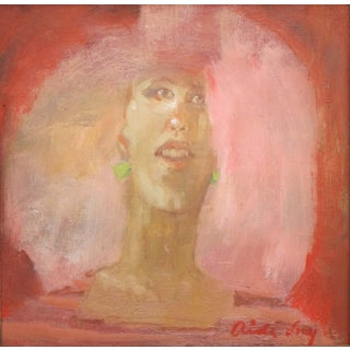 "Fry Framed Oil Painting ""The Big Pink, Cotton Candy"", Contemporary Pink Portrait For Sale"