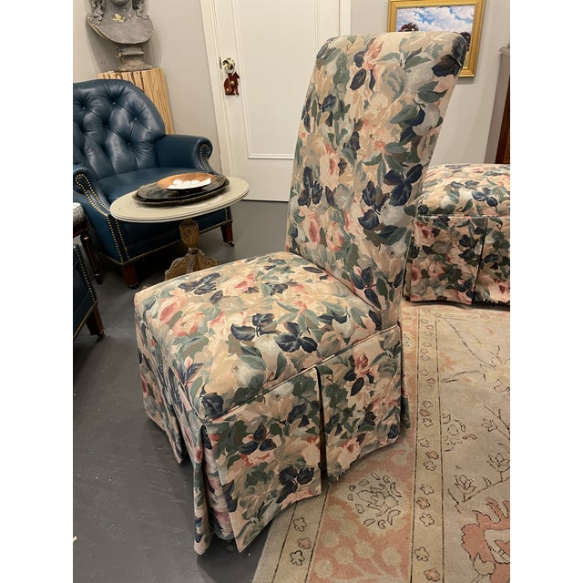 1960s Vintage Floral Parson Style Side Chairs - Set of 4 For Sale - Image 4 of 7