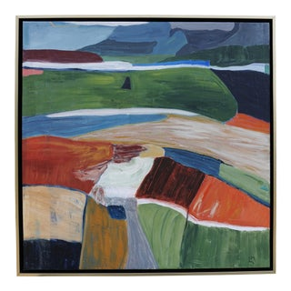 """Far and Away"" Contemporary Abstract Landscape Acrylic Painting by Laurie MacMillan, Framed For Sale"