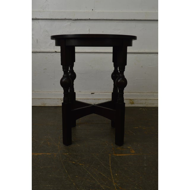 Arts & Crafts Style Antique Round Oak Drinks Table Stickley Era For Sale - Image 4 of 13