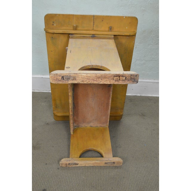 Primitive Antique Primitive Yellow Painted Pine Hutch Table Bench For Sale - Image 3 of 11