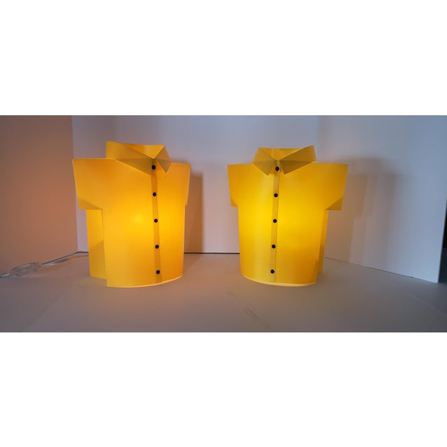 Retro 80s Pop Art Memphis Milano Style Lighting Decor shaped in the form of Yellow Shirts. Newly wired with candleabra...
