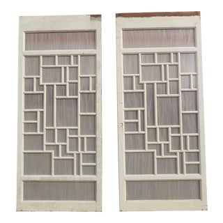 Vintage Modernist Fiberglass & Horse Hair Panel Doors - A Pair For Sale