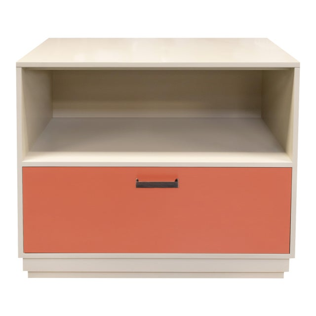 Minimalistic Maple Filing Cabinet From Garden Street in Putty and Coral For Sale