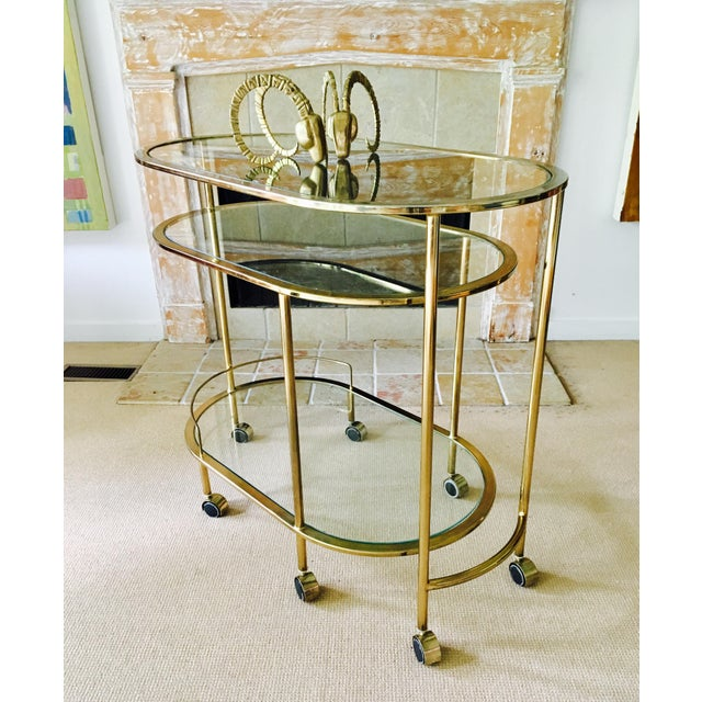 Mid Century Bar Cart Brass Swivel Triple Tiered - Image 4 of 11