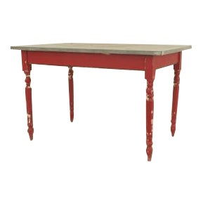 19th Century American Country Rustic style rectangular red painted work table For Sale