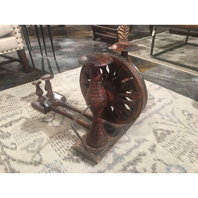 Antique Distressed Red Spinning Wheel For Sale In Denver - Image 6 of 11