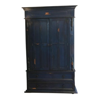 Vintage Rustic Blue Painted Armoire