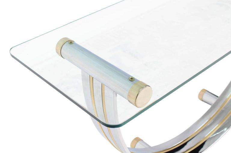 U Shape Brass And Chrome Glass Console Table   Image 3 Of 8
